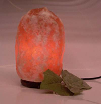 Large salt lamp glowing