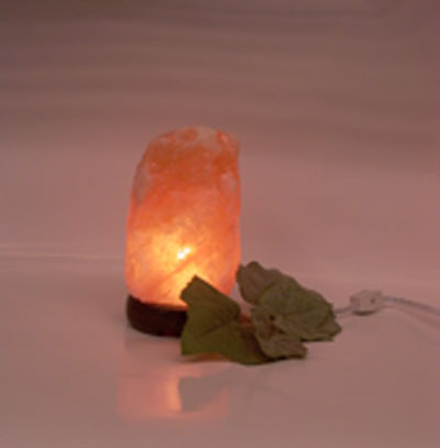 Mini salt lamp glowing