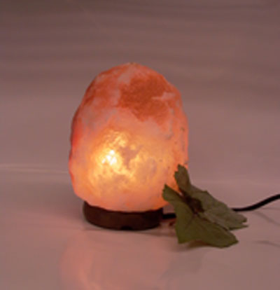 Small salt lamp glowing
