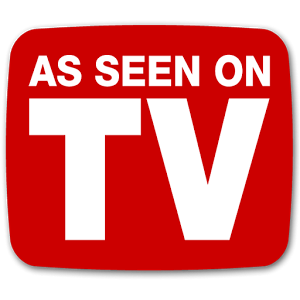 Logo As Seen On TV with white letters and a red background